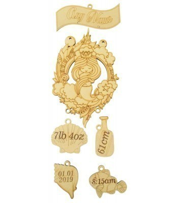 Laser cut Personalised Birth Details Mermaid Plaque with Hanging Shapes